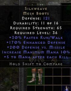 Silkweave Boots | Seidenweberei Stiefel | Diablo 2 Resurrected D2R SC PC
