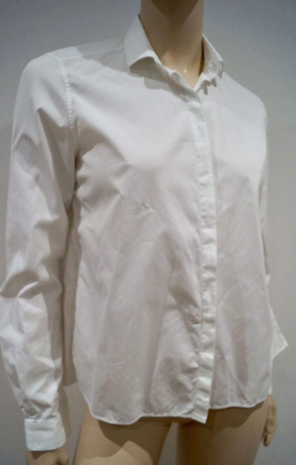 VALENTINO Weiß Collarot Pleated Rear Hemline Formal Blouse Shirt Top IT42 UK10