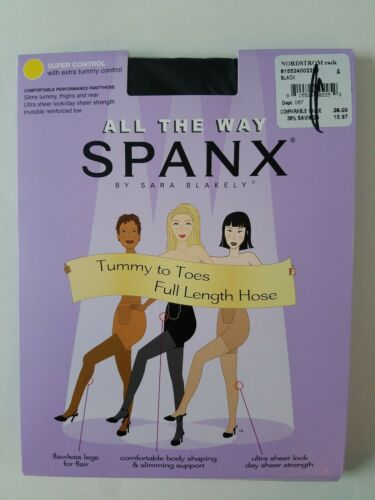 Spanx All the Way Tummy to Toes Full Length Hose Black Size A Super Control