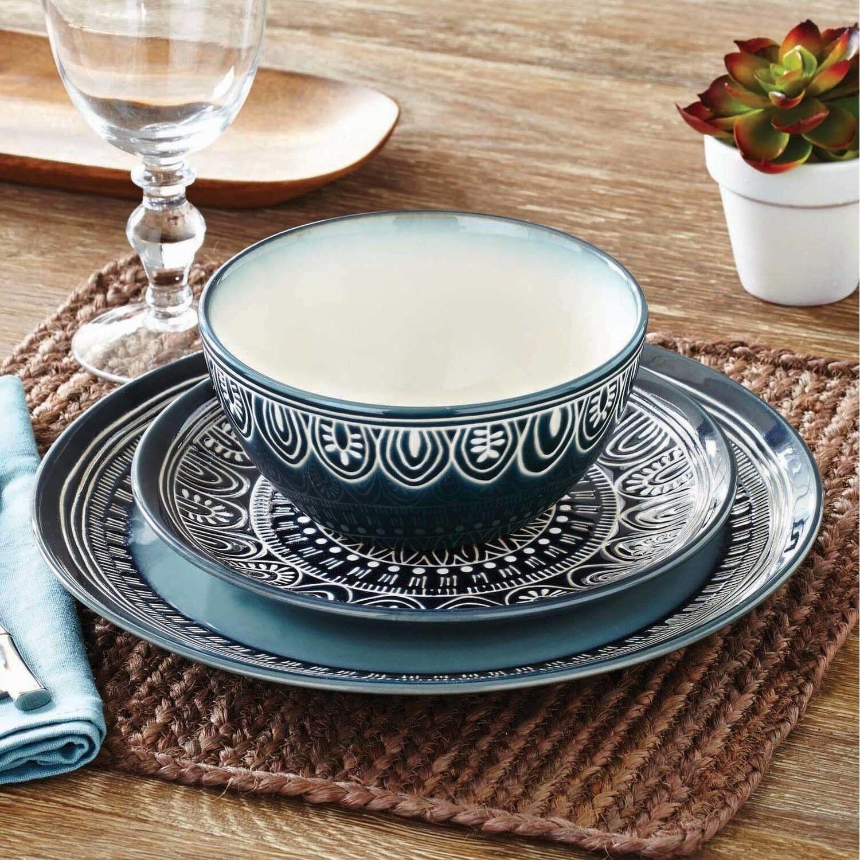 12 Piece Dinnerware Set Round Dishes Dinner Teal Medallion Plates Kitchen NEW