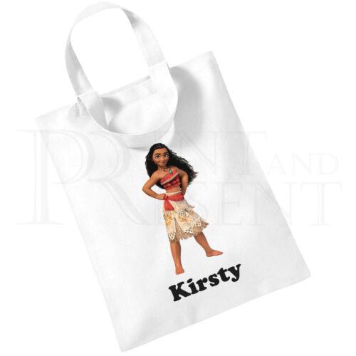 Personalised Children/'s Girls Disney Moana Cotton Mini Tote Bag Book Bag