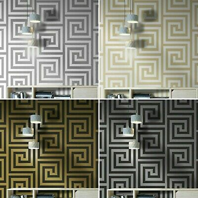 Designer Glitter Greek Keys Debona Athena Black Gold Wallpaper 4014