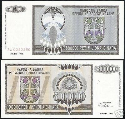 CROATIA 5,000,000 DINARA 5 MILLION 1993 P R11 AU-UNC