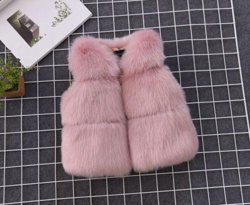 Kids Girl Luxury Faux Fur Vest Thick Warm Gilet Waistcoat Coat Sleeveless Jacket