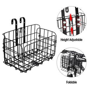 Folding-Bicycle-Bike-Basket-Front-Rear-Metal-Wire-Storage-Adjustable-Detchable