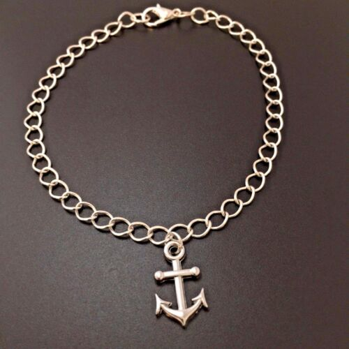 Boat Anchor Charm Bracelet Nautical Sterling Silver Chain Link Women/'s Jewelry