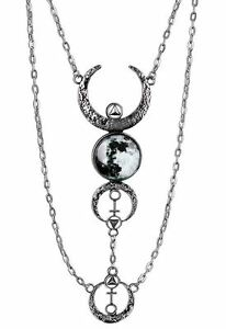 Restyle-Full-amp-Crescent-Moon-Occult-Witch-Antique-Silver-Multi-Drop-Necklace