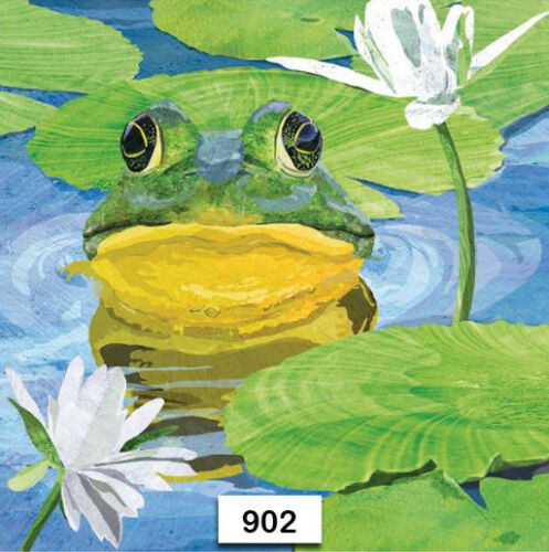 FROG WATER LILlYPAD 902 TWO Individual Paper Luncheon Decoupage Napkin
