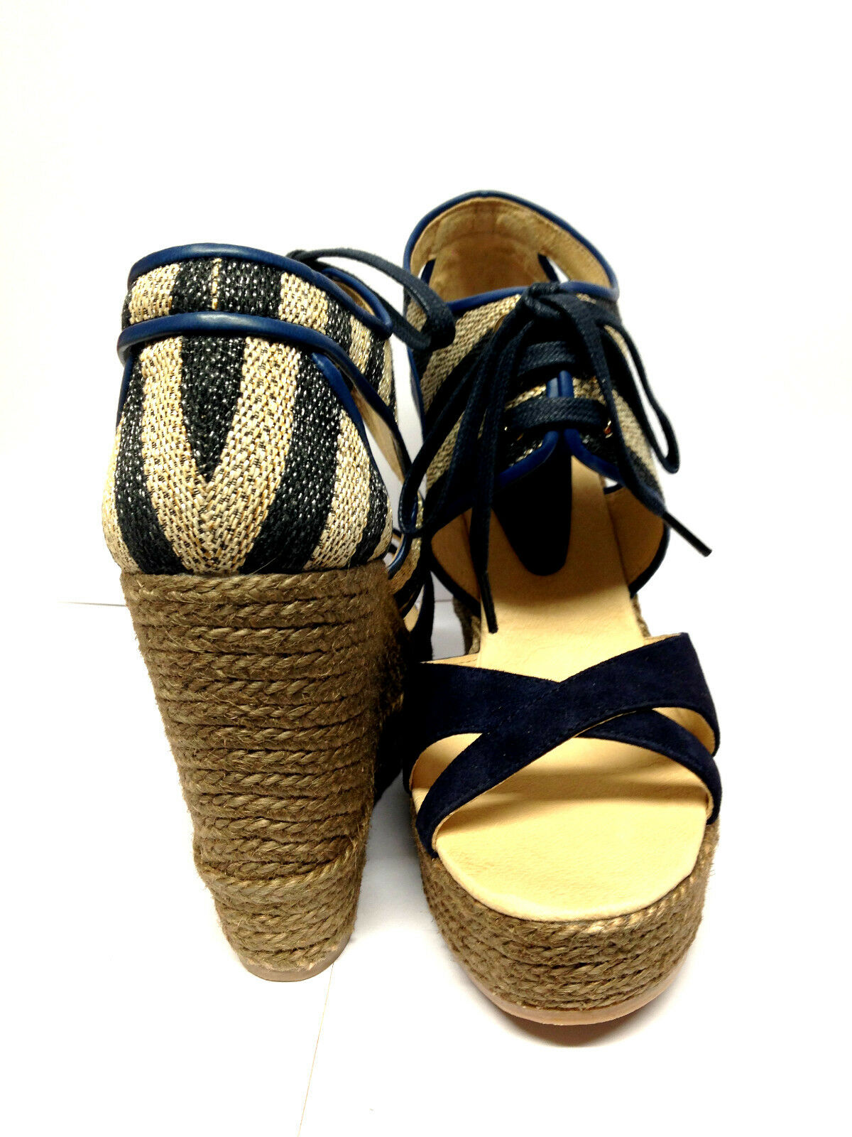 SOMERSET BY ALICE SIZE TEMPERLEY -WISTERIA LACE-UP WEDGE/HEELS- SIZE ALICE 5 - NAVY  BB232 9a6e84