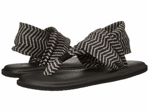 Women Sanuk Yoga Sling 2 Prints Flip Flop Sandal SWS10535 Black Natural Congo NW