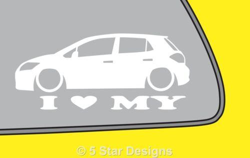 2x LOVE LOW Toyota Auris 5 door outlinecar silhouette sticker decal LR232