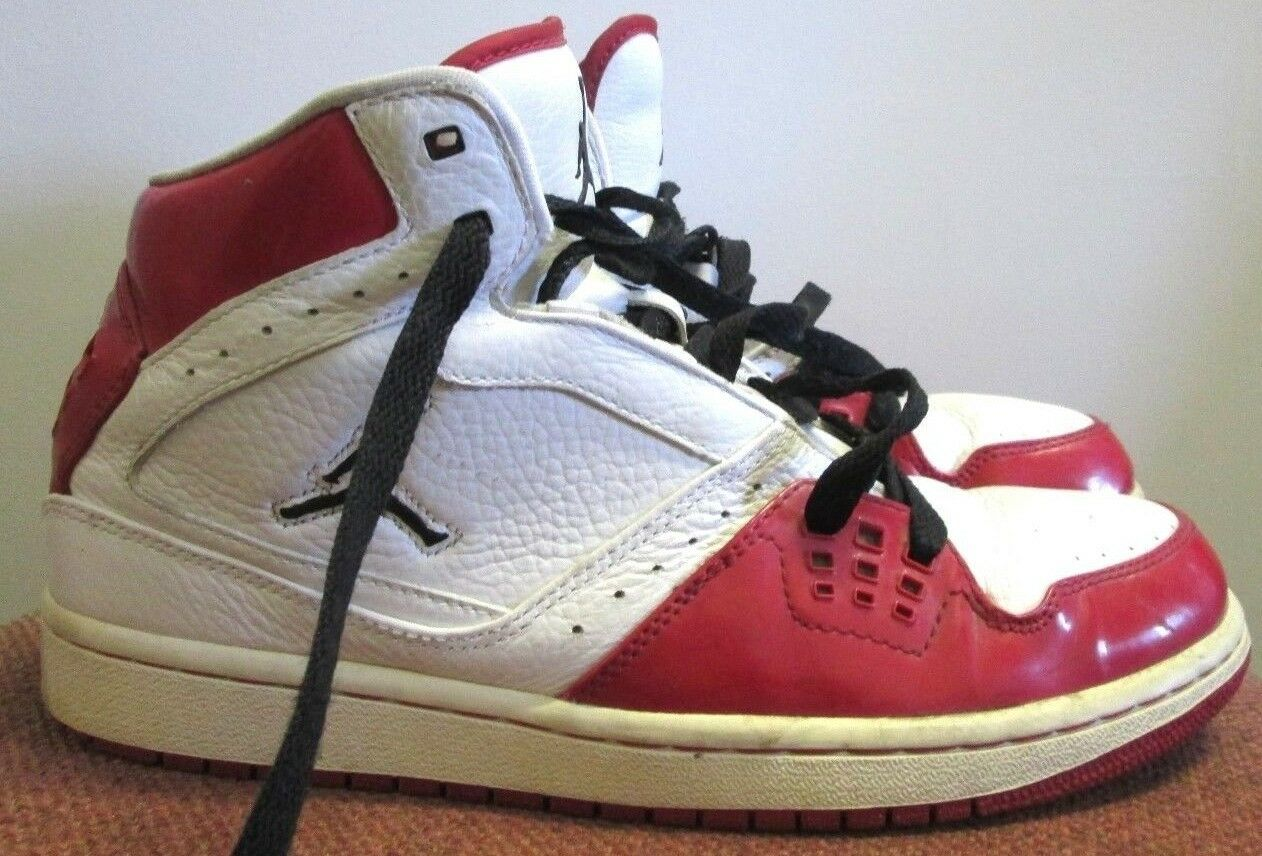 Nike Air Jordan Jordan Air 1 Flight Chicago Home Blanco Rojo Negro Talla 9 372704-101 Hombres Moda barato y hermoso 2eb799