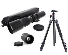 Pro Ball Head Tripod w/ 500-1000mm f8 Telephoto Lens For Sony Minolta AF Cameras