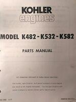 Kohler K482-k532-k582 Engine Parts (2 Manuals) 88pg Lawn Riding Garden Tractor