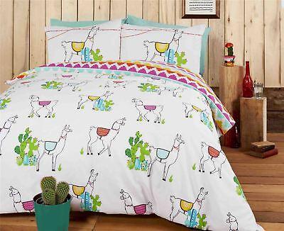 Llamas Kakteen Zig Zag Blaue Baumwolle Mischung Umdrehbar Doppelt 4-tlg Bettwäsche Bettwaren, -wäsche & Matratzen Gute QualitäT