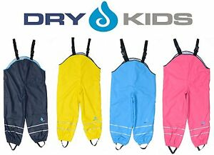 81d5cad84eef5 Image is loading Dry-Kids-Childrens-Waterproof-Trousers -Dungarees-Fleece-Lined-