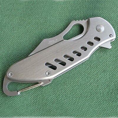 SANRENMU 733 Pocket Folding Knife Camping Fishing Tool w/ Carabiner Clip