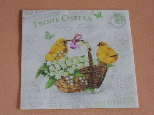 Happy Easter sello serviettentechnik pollitos cesta 1//4 6 servilletas felices Pascuas