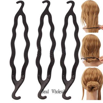 Women 3Pcs Hair Twist Styling Clip Stick Bun Maker Braid Tool Hair Accessories