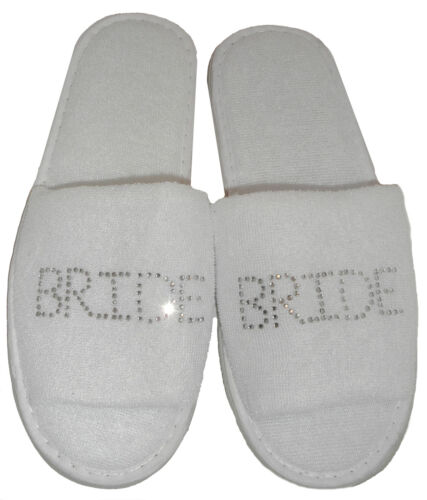wedding bride white diamante bridesmaid Slippers /& Gift Bag Set PERSONALISED