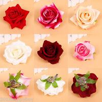 ROSE HAIR PINS GRIPS FLOWER WEDDING BRIDESMAID ACCESSORIES ALL COLOURS