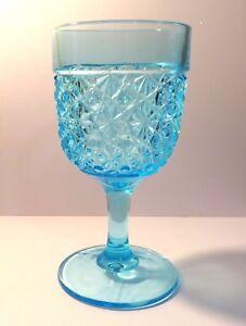 "L.G. Wright ""Daisy & Button Blue""  6-1/4 Water Goblet, Plain Stem / Foot"
