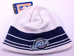 81e78471d015d UTAH JAZZ NBA VINTAGE CUFFLESS KNIT BEANIE WHITE WINTER HAT NEW BY ...