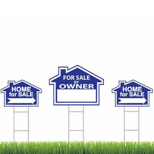 3 Blue For Sale By Owner Signs Double Sided Real Estate Signs With H Stakes 793611125902 Ebay