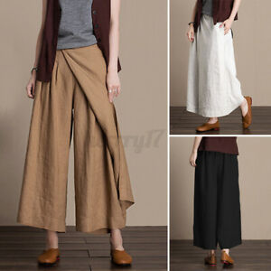 ZANZEA-Womens-Elastic-Waist-Wide-Leg-Culottes-Pants-Solid-Cotton-Loose-Trousers
