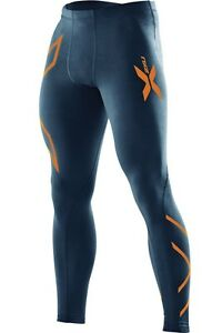 d43599d6e235b Image is loading 2XU-Mens-Compression-Tights-Navy-Torch-Orange-NEW-