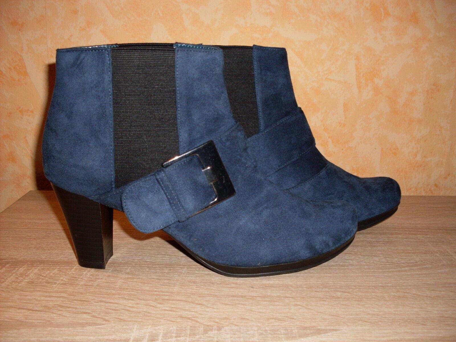 Designer Schlupf Stiefelette Andrea Conti NEU Gr. 7 41 in blau & Velours wow