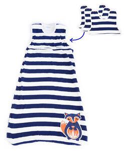 Navy Blue & White Fox Baby Sleeping Bag PREMIUM 4 SEASONS Merino Wool