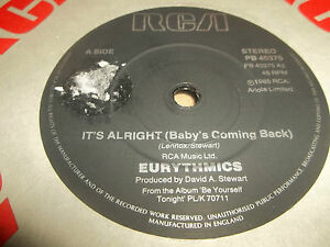 EURYTHMICS-034-IT-039-S-ALRIGHT-BABY-039-S-COMING-BACK-034-7-034-SINGLE-EXCELLENT-1985