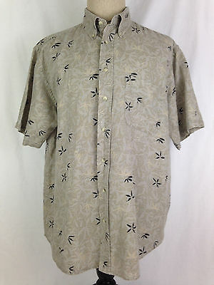 Roundtree Yorke Mens Hawaiian Shirt L Size Black Tan Fishing Floral Beach Camp