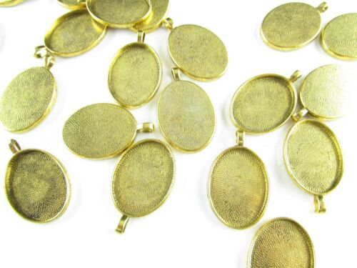 50 Oval Pendant Trays Antique Gold Color Blanks Bezel Setting 22x30mm