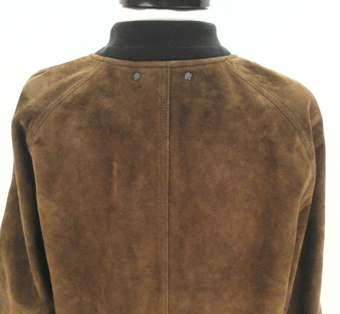 d2168f1b2 Coach Men's Soft Goat Suede Leather Bomber Aviator Jacket Brown Large