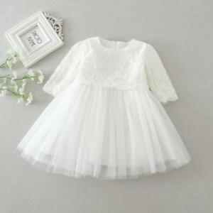 ef17048a9e6c8 Details about Newborn Long Sleeve Baptism Dress Gown Baby Girl Kid Lace  Christening Clothing