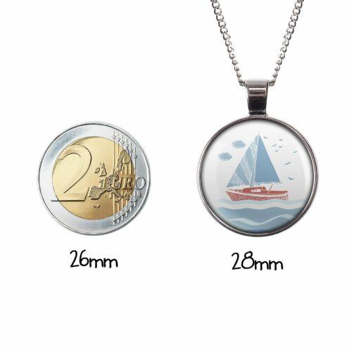 Mylery Hals-Kette mit Motiv Segel-Boot Segel-Schiff Meer Möwen silber oder bronz