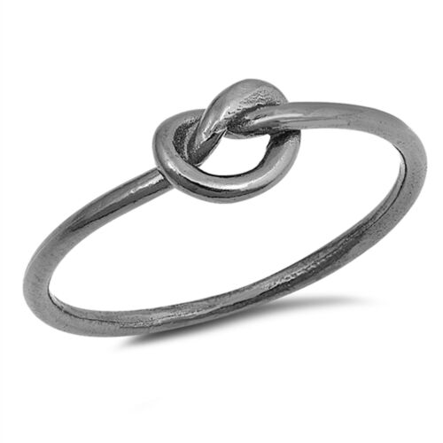 Black-Tone Heart Promise Knot Ring New .925 Sterling Silver Cute Band Sizes 2-12