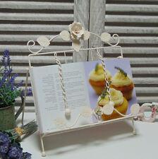 Crema De Metal libro de recetas Soporte Estante Rose Shabby Vintage Chic País Cocina Regalo