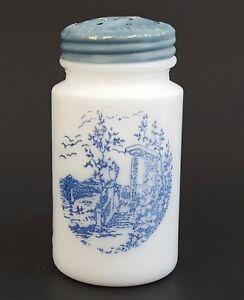 Vitrock-Milk-Glass-Salt-Pepper-Shaker-White-Blue-Scenic-Decor-3-034-Single