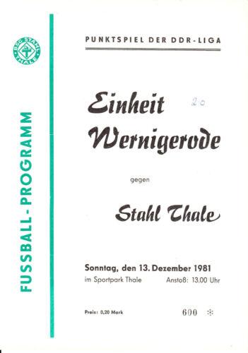 Fußball BSG Einheit Wernigerode  13.12.1981 DDR-Liga 81/82 BSG Stahl Thale