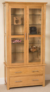 Oslo-100-Solid-Oak-Glass-Display-Cabinet-Unit-Wood-Storage-Furniture-Brand-New