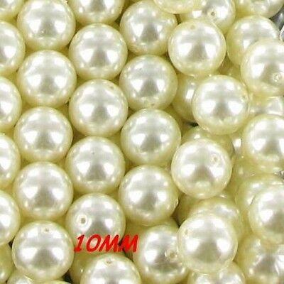 30 perles BLANC IVOIRE RENAISSANCE en verre nacré 10mm #J49
