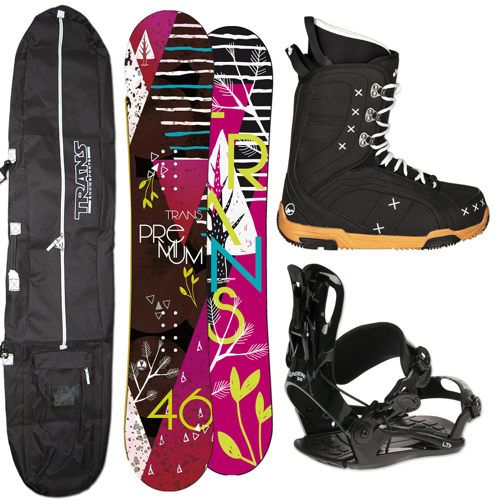 DAMEN SNOWBOARD TRANS PREMIUM 144 CM  + FASTEC BINDUNG GR. S + Stiefel + BAG