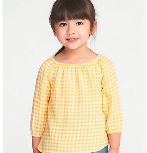 f5d341dc1753 GAP OLD NAVY Girls yellow Gingham Off-the-Shoulder Swing Top Shirt ...