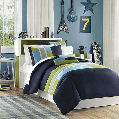 Full Queen Comforter Sporty bluee Green Soft Boys Stripe Set Pillow With Shams