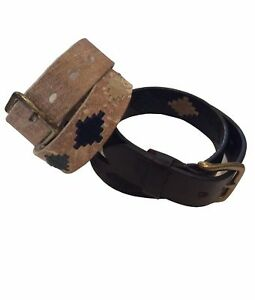 """100/% Argentine Embroidered Rawhide Leather /""""Argentina/"""" Polo Belt"""