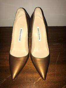 Manolo Blanik Brown Bronze Patent Leather High Heel Pumps Size 39 Us 8 5 Ebay