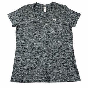 Under-Armour-HeatGear-Womens-Loose-Tech-Twist-V-Neck-T-Shirt-Gray-Sz-Medium-EUC